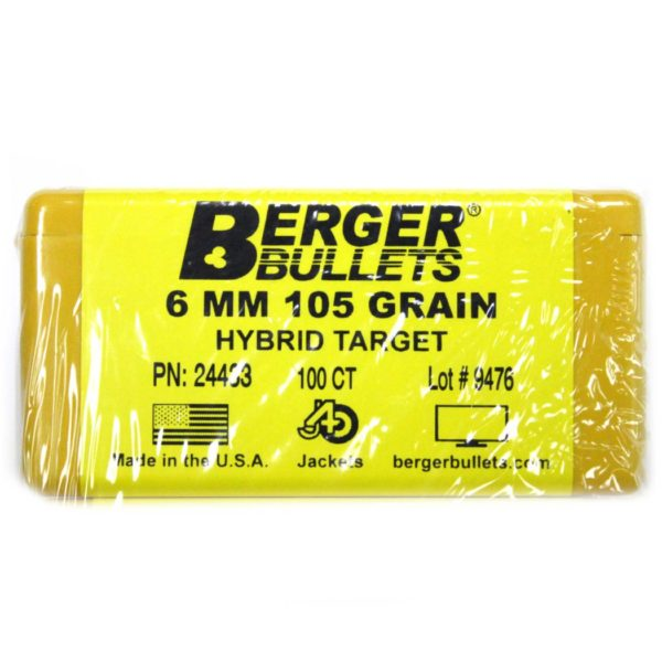 Berger Bullets - 6 mm, 105 GR, Match Hybrid Target