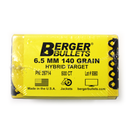 Berger Bullets - 6.5 mm, 140 GR, Match Hybrid Target (Qty 500)