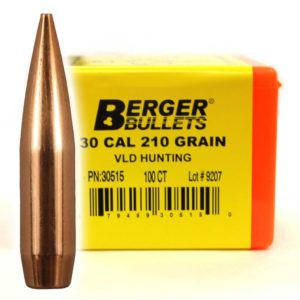 Berger Bullets - .30 cal, 210 GR, Match VLD Hunting (Qty 100)